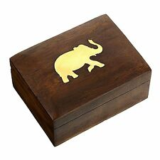 Jewelry Box in Wood Elephant Charm Gift for Women, 4 X 3 X 2 Inches by