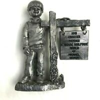 Vintage 1981 Michael Ricker Pewter Figurines Boy Sign Bartlett Collectors 4""
