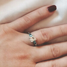 GIA Certified Diamond And Blue Topaz Platinum Engagement Ring