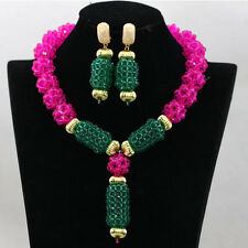 Pink & Green  African Beads Bridal Wedding Jewelry Necklace Set