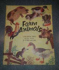 "Vintage 1958 set of 5 Leonard Weisgard ""Farm Animals"" Prints Perfect For Framing"