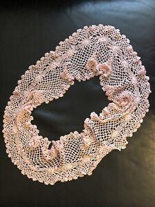 Crochet Lace Shawl Collar 1930s 1920s Vintage Retro Silk Blend Scarf Handmade