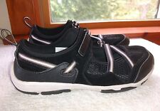 Womens Lands End Black Mesh Sport Slip on Mary Jane style 416706 Sz 7.5 D Wide