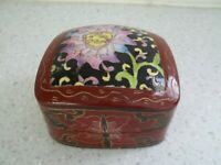 Vintage Lacquered Trinket Box, Handpainted, Square Shape, Deep Red, Pink Flower