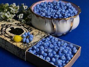 Viburnum Berries Beads, Berries, 4mm Tiny Blue Small NOS Seed Beads #1006J