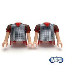 playmobil® Römer 2 x Oberkörper mit Arme rot | silber | braun | Kettenhemd