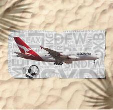 Qantas Airbus A380 with Airport Codes -  Beach Towel
