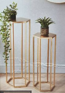 Deco Set of 2 Side Lamp Plant Table Hall Lamp Furniture Living Room Gold Hexagon
