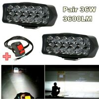 1Pair 36W 3600LM LED Work Light DRL Headlight Driving Lamp Car Truck With Switch