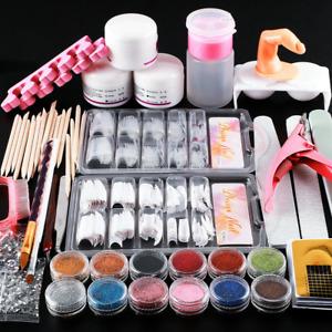 UK Acrylic Nail Kit Powder Manicure Tips Brush Tool set Glitter Random 12 colors