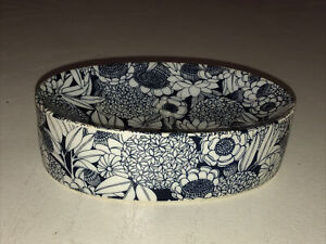 Irice IW Rice & Co Floral Mid-Century Modern Soap Dish Porcelain Blue Japan