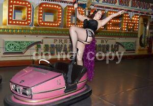 RARE FAIRGROUND BUMPER CAR DODGEMS A4 GLOSSY PHOTO RISQUE GIRL VINTAGE PRINT