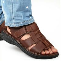 Men's Summer Open Toe Leather Casual Sports Flat Comfort Beach Sandals Shoes New