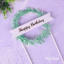 "Leaf Wreath ""Happy Birthday"" Cake Topper Dessert Decor for Birthday PartyGiftsWG"
