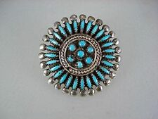 OLD ZUNI STERLING SILVER & NEEDLEPOINT TURQUOISE CLUSTER PIN