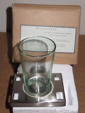 (1) NIB Pottery Barn CLASSIC PIEDMONT TOOTHBRUSH & CUP HOLDER, SATIN NICKEL, NEW
