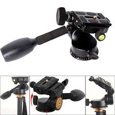 Video Tripod Ball Head 3Way Fluid Rocker Arm+Quick Release Plate for DSLR Camera
