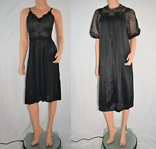 Vintage 50's Black Negligee Nightgown Robe Peignoir Set by LORRAINE Size Small