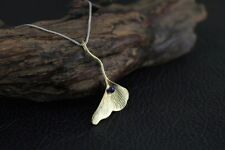 Gold Dipped Over 925 Sterling Silver Lapis Lazuli Ginkgo Leaf Charm Necklace