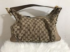 Authentic Gucci GG Monogram Canvas/Leather Hobo Beige/Brown Handbag