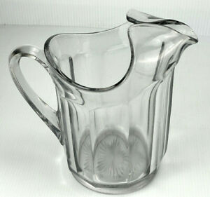 VINTAGE HEAVY GLASS WIDE RIBBED PITCHER WITH ICE BLOCKER SPOUT!