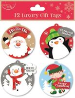 12 LUXURY GIFT TAGS CHRISTMAS SANTA XMAS GIFT WRAPPING PRESENT VARIOUS DESIGNS