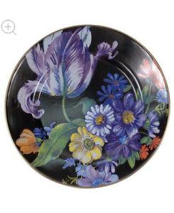 Mackenzie childs flower market black dinner plate