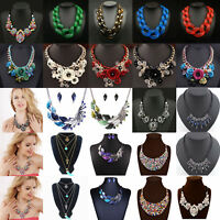 Women Rhinestone Crystal Choker Chunky Statement Bib Pendant Necklace Jewelry