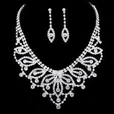 Gorgeous Bridal Wedding Jewelry Rhinestones Crystal Necklace Earrings Set N350
