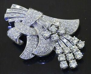 Antique heavy Platinum beautiful 7.18CTW VS1/F diamond cluster flower brooch