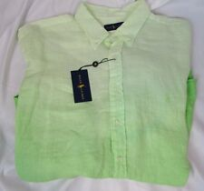 RALPH LAUREN Polo mens SHIRT Big & Tall LINEN Button Ombre Sport LIME XLT $145+