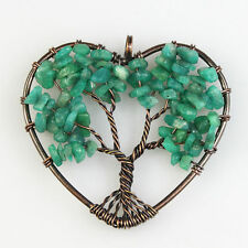 Natural Amazonite Chip Beads Tree of Life Reiki Chakra Copper Heart Pendant