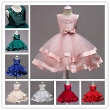 Festkleid Kinder Spitzekleid Prinzessin Kleid Blumen Mädchen Hochzeit Tutu Rosa