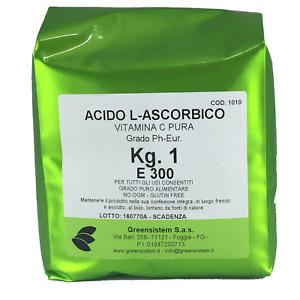 ACIDO ASCORBICO KG. 1 E300 (BUSTA) - NO OGM - GLUTIN FREE - VITAMINA C