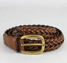 Neu gucci Licht Brown Geflochten Leder Gürtel mit / Gold Schnalle 100/40 380606