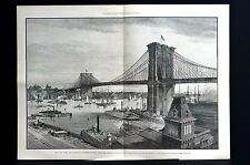 Brooklyn Bridge 1883 East River SAIL TUG BOATS FERRY Lg Centerfold Print FINE