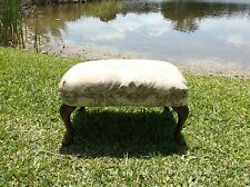 ANTIQUE LOUIS XV STYLE DECORATOR OTTOMAN WITH DAMASK FABRIC AND NAIL HEADS