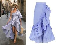 Ruffle Wrap Asymmetric Maxi Skirt Pin Stripe Concertina Pleats A-line Flare