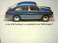 1966 Volkswagen Dealer Sales Brochure Folder Fastback Original