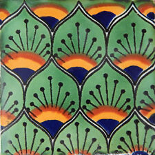 "Handmade Mexican Tile Sample Talavera Clay 4"" x 4"" Tile C154"
