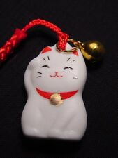 MANEKI NEKO Beckoning Cat Cell Phone Strap Keychain Charm with Bell & Sleeve NEW