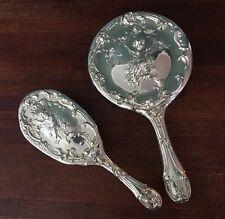 Silverplate Cherub Cupid Silver Plate Mirror Brush Set Angel