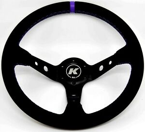 KODE-350mm Deep Dish Leather Steering Wheel Purple Stitch Fit 6x70mm PCD Boss