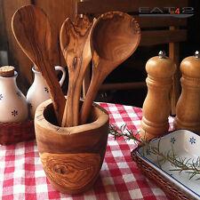 Köcher mit 3 Utensilien Becher  Olivenholz Holz Küchenhelfer Kochlöffel Halter