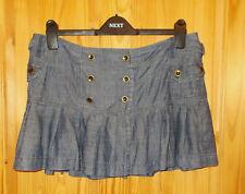 NEXT denim blue LINEN pleated short mini skater kilt skirt 14 42 summer holiday