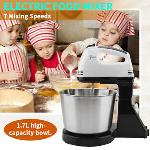 Electric Hand Mixer 7 Speed Stand Mixers For Egg Cream With Bowl 2 Dough Hooks