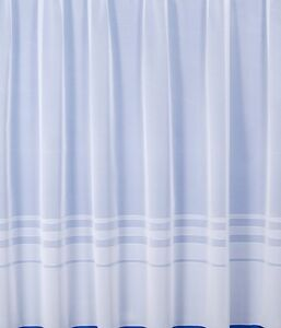 New Modern Plain White Net Curtain (4000) stripe border sold by metre in width