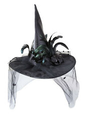 Deluxe Black Witch Hat & Feathers Ladies Halloween Fancy Dress Witches Accessory