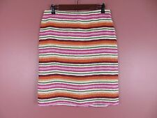SK09937- TALBOTS Woman 100% Linen Pencil Skirt Multi-Color Rainbow Striped Sz 6