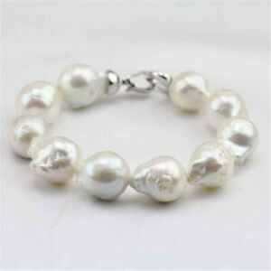 14-16mm White Baroque Pearl Bracelet 7.5inch Silver Buckle Accessories Classic